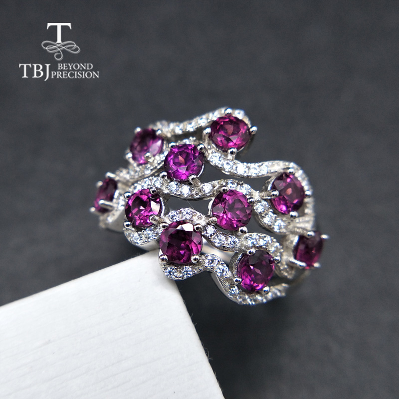 TBJ,Natural Rhodolite Garnet gemstone Ring in 925 sterling silver,nice romantic special gift for women girls with jewelry box
