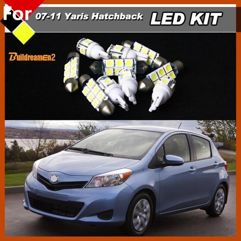Buildreamen2 Car LED Bulbs Interior Set Kit White 12V For 2007-2011 Toyota Yaris Hatchback Step Courtesy Map Dome Luggage Lights