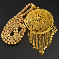 Anniyo Thick Chain and Big Pendant for Women Men Ethiopian African Gold Color Jewelry Nigeria Gifts #064506