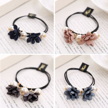 Flower Morning Glory Elastic Rubber Bands Korean Ribbon Bow Hair Accessories Big Pearl Women Girls Scrunchy
