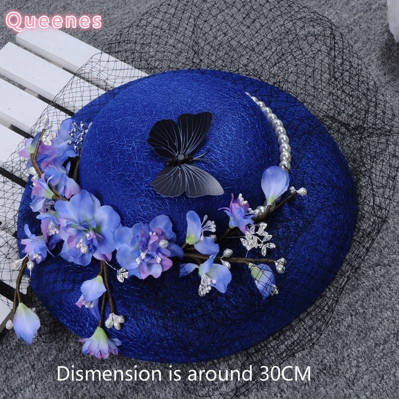 ФОТО Royal Blue Birdcage Wedding Veil Hat Floral  Butterfly Pearl Fascinator For Women PLush Velvet Ladies Party Dinner Headdress New