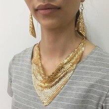 8df95a072901 MANILAI indio conjunto de joyas de estilo Chic brillante Metal Slice  gargantilla Bib collares pendientes boda