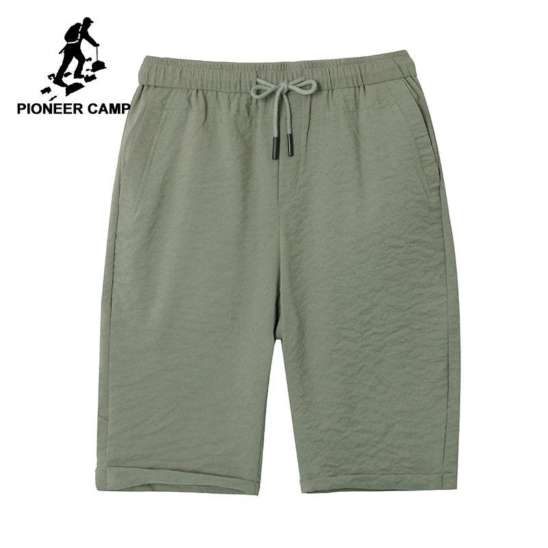 Pioneer Camp New Thin Solid Shorts Men Brand-clothing Summer Bermuda Trousers Male Quality Soft  Black Army Green ADK803146