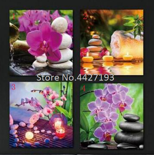 5D DIY Diamond Painting Orchid stone candle Embroidery mosaic pattern painting rhinestones Stickers