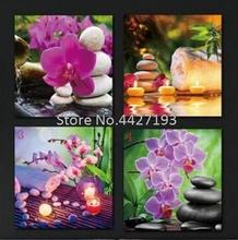 5D DIY Diamond Painting Orchid stone candle Diamond Embroidery mosaic pattern painting rhinestones Stickers diamond pattern candle cover