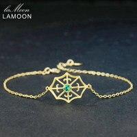 LAMOON Spinnennetz 2,5mm Rundschnitt-grüne Smaragd 925 Sterling Silber Schmuck Licht Gelb Gold Farbe Kette Charm Armband LMHI032