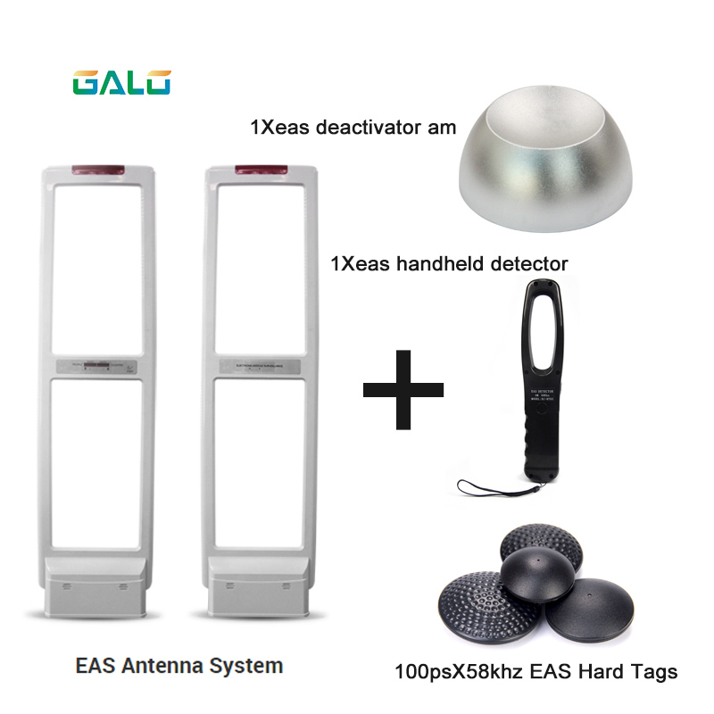 Full Set EAS Shopping Mall Anti Theft Gate Eas Alarm System With Detacher& Hard Tags& Handheld Frequency Tester Set Sell