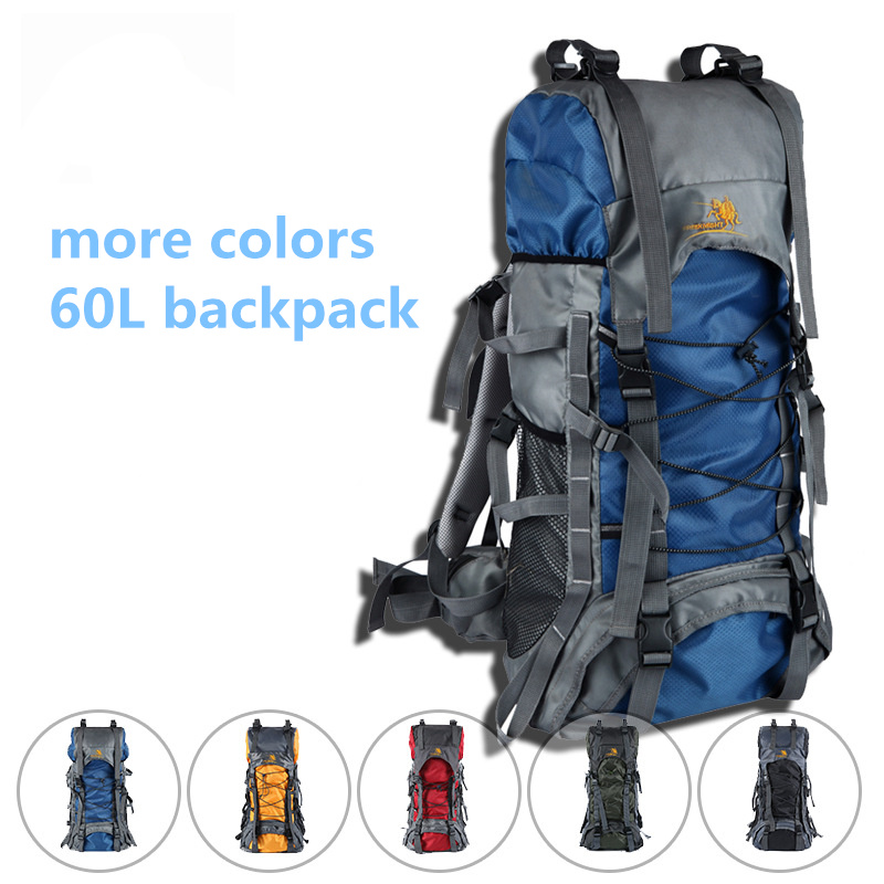Outdoor 60L Waterproof Oxford Climbing Mountaineering Backpack Rain Cover Bag Camping Mountaineering Bike Hiking Backpack kimlee top quality 35l sport bag waterproof outdoor camping backpack professional mountaineering rucksacks with rain cover