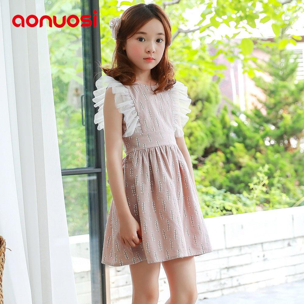 Summer Girl Dress Aonuosi Nowy produkt 2018 pink Party bowknot - Ubrania dziecięce - Zdjęcie 1