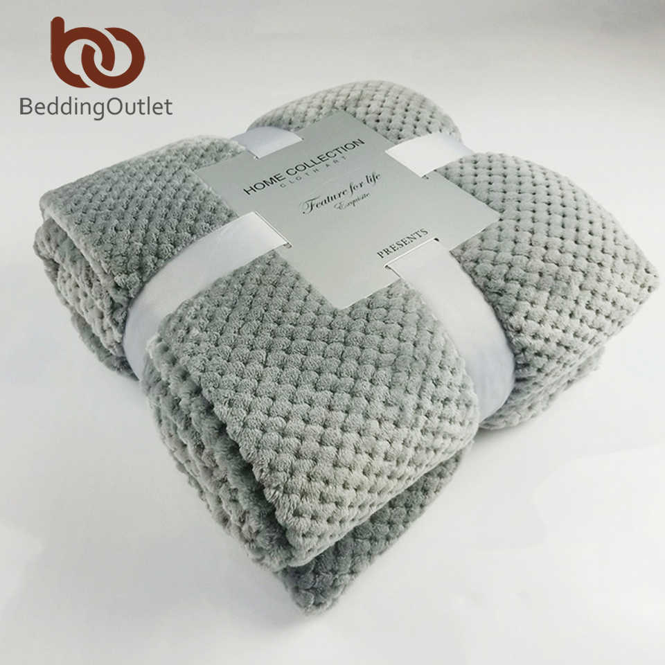 BeddingOutlet Flannel Fleece Throw Blanket Soft Blanket Solid Color Bedspread Plush Cover for Bed Sofa Christmas Gift Dropship