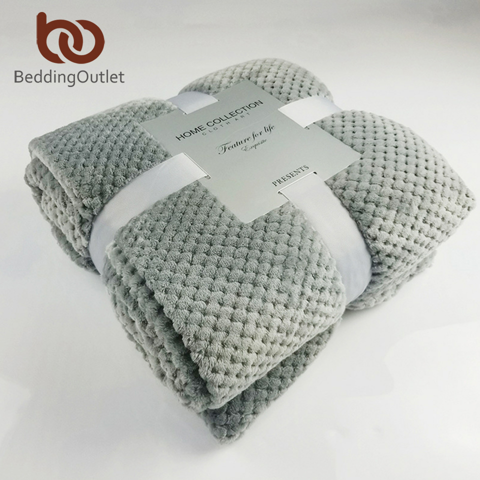 BeddingOutlet Flannel Fleece Throw Blanket Soft Travel Blanket Solid Color Bedspread Plush Cover For Bed Sofa Warm Gift Dropship