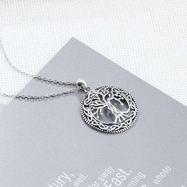 Tree of Life Round Pendant Necklace Women Retro Jewelry Gift 2