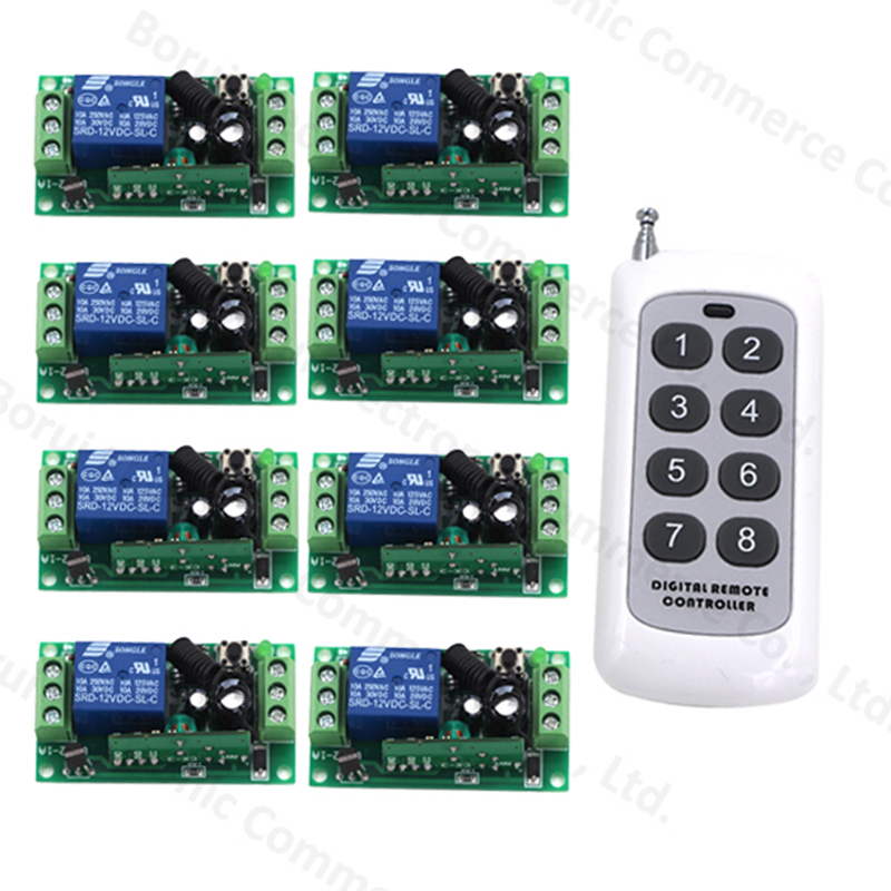 Remote Control Switch DC 12V 1 CH 10A Relay Receiver Transmitter Wireless Switch Learning Light Lamp 315/433Mhz dc 12v rf wireless switch remote control switch 10a 1ch receiver mini relay wall transmitter for light motor gate 315 433mhz