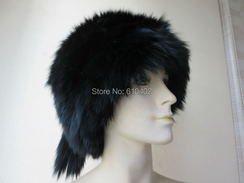 free shipping Lady s Genuine Real Fox Fur hand made knitted Hat black