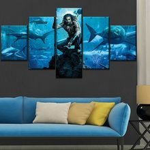 Aquaman Movie Wall Art Canvas Modern 5 Pieces Print Poster Painting HD Print Canvas Printed Living Room Home Decor Picture(China)