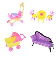 Newest Carriage Stroller Trolley Shopping Cart Table Chairs Dinner Table Chair Sofa Dollhouse Furniture Accessories(China)