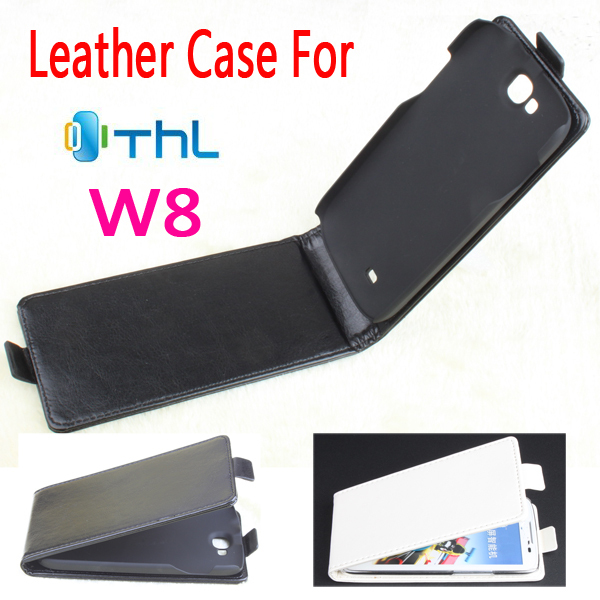 2014 Luxury Fashion Flip Genuine Leather Case Cover THL W8,Original Mobile Phone Bag/Black,White - MMZ Union Source store