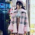 Принцесса сладкий лолита студент пальто BOBON21 Розовые плюшевые овечьей шерсти теплое пальто Серый Розовый Плед C1432