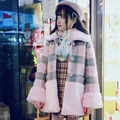 Princess sweet lolita student coat BOBON21 Pink stuffed lamb wool warm coat Gray Pink Plaid C1432