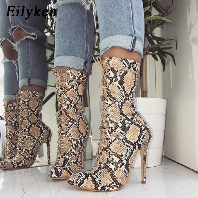 Eilyken Serpentine Women Ankle Boots 2019 Autumn Lace Up Pointed Toe Stilettos Shoes Fashion Sexy Chelsea Boots size 35 42