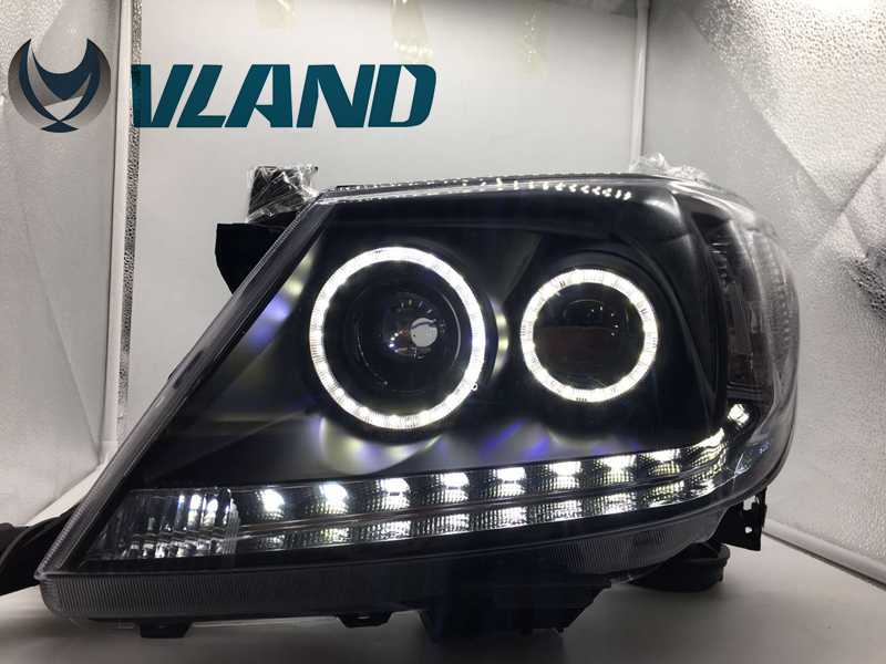 VLAND Factory for Car head lamp for Vigo LED Headlight 2011 2012 2013 Revo Head light with xenon HID projector lens and Day free shipping for vland factory for great wall h6 led headlight 2011 2013 hid bi xenon headlamp with led drl plug and play