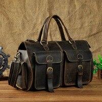 DWOY Multi Function Full Grain Genuine Leather Travel Bag Men's Leather Luggage Travel Bag Duffle Bag Large Tote Weekend Bag