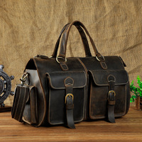 LAPOE Multi Function Full Grain Genuine Leather Travel Bag Men's Leather Luggage Travel Bag Duffle Bag Large Tote Weekend Bag