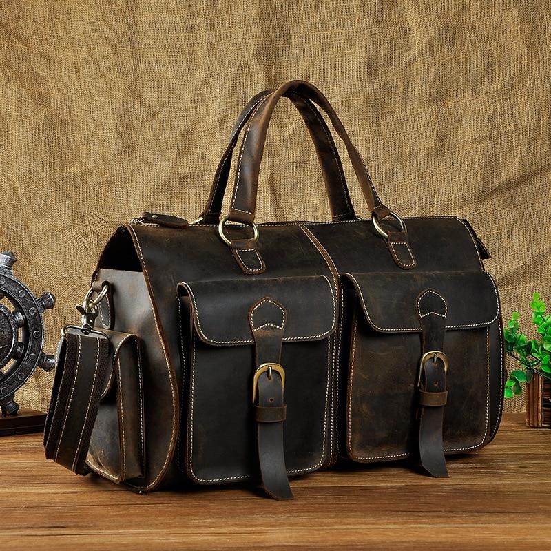 Lapoe Multi Функция из натуральной кожи с натуральным лицевым покрытием дорожная сумка Для мужчин кожаные Чемодан дорожная сумка вещевой мешок