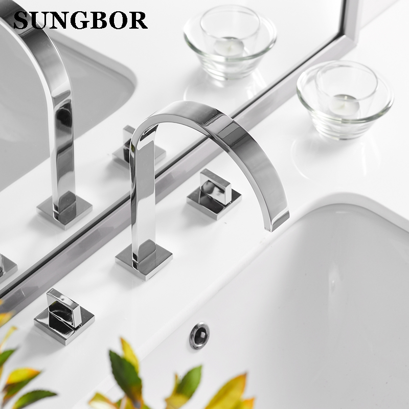 Basin Bathroom Sink Mixer Tap Brass Polished Chrome Tap Water Faucet Waterfall Basin Mixer Faucet 3 Hole Double Handle Water Tap high quanlity rear bumper brake light tail light stop light taillight taillamp for chevrolete captiva 2008 2009 2010