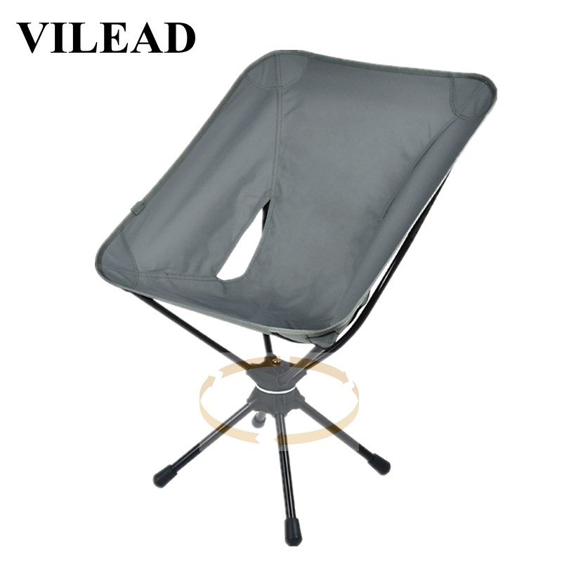 VILEAD Folding Swivel Moon Chair Aluminum Portable Camping Picnic BBQ Beach Fishing Outdoor Garden Seat High Load Ultralight-in Camping Chair from Sports & Entertainment
