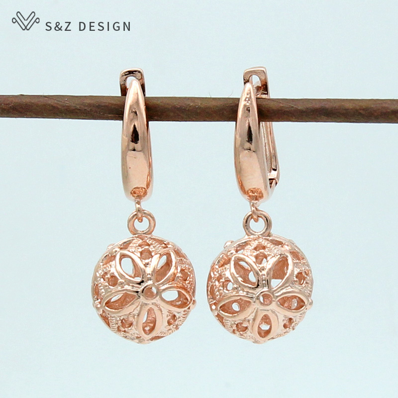 S&Z 2019 New Hollow Flower Ball Vintage 585 Rose Gold Dangle Earrings For Women Fashion Wedding Party Fine Trendy Jewelry(China)