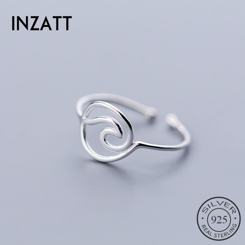INZATT Real 925 Sterling Silver MInimalist Geometric Hollow Line Wave Opening Ring For Elegant Women Party Fashion Fine Jewelry