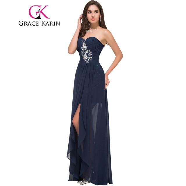 d3be31351 Gracia Karin strapless vestido de noche barato gasa oscuro azul marino prom  vestidos de fiesta cariño