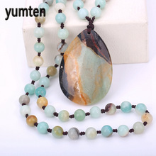 Natural  Jewelry Ethnic Necklace Colorful Beads Men's Necklace Long Chalcedony Water Drops Pendants Colorful Agate Sweater Chain