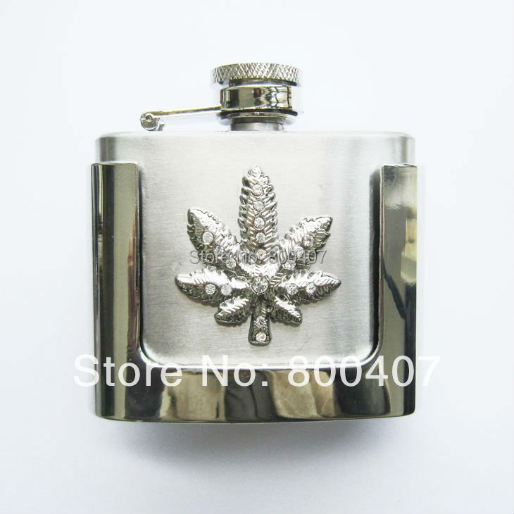 Retail Belt Buckle (2oz Marple Leaf Stainless Steel Flask) BUCKLE-FL-Leaf Flask Belt Buckle Free Shipping