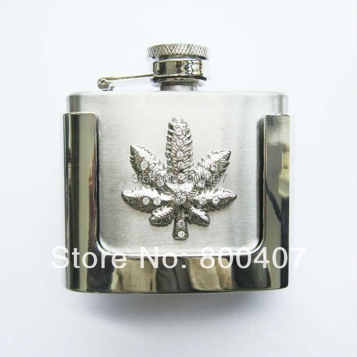 Retail Belt Buckle (2oz Marple Leaf Stainless Steel Flask) BUCKLE-FL-Leaf Flask Belt Buckle Free Shipping