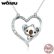 WOSTU yüksek kalite 925 ayar gümüş sevimli koala kolye kolye kadınlar için kız güzel takı hediye kız arkadaşı için CQN256