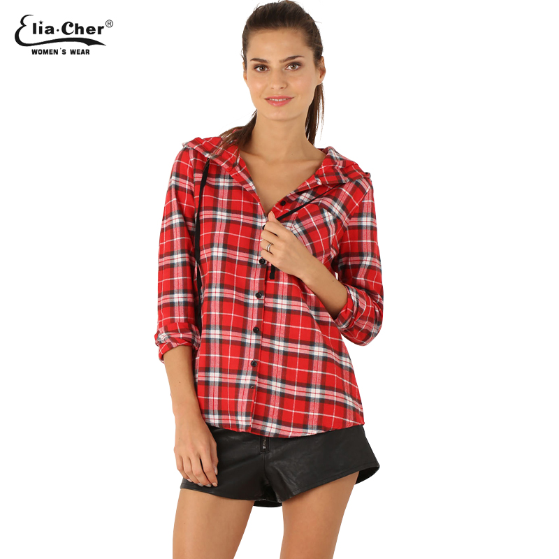 Blouse Shirt Women Summer Hooded Plaid Blouse Tops Eliacher Brand Plus Size Women Clothing Lady Shirts Tops BLUSAS 6766