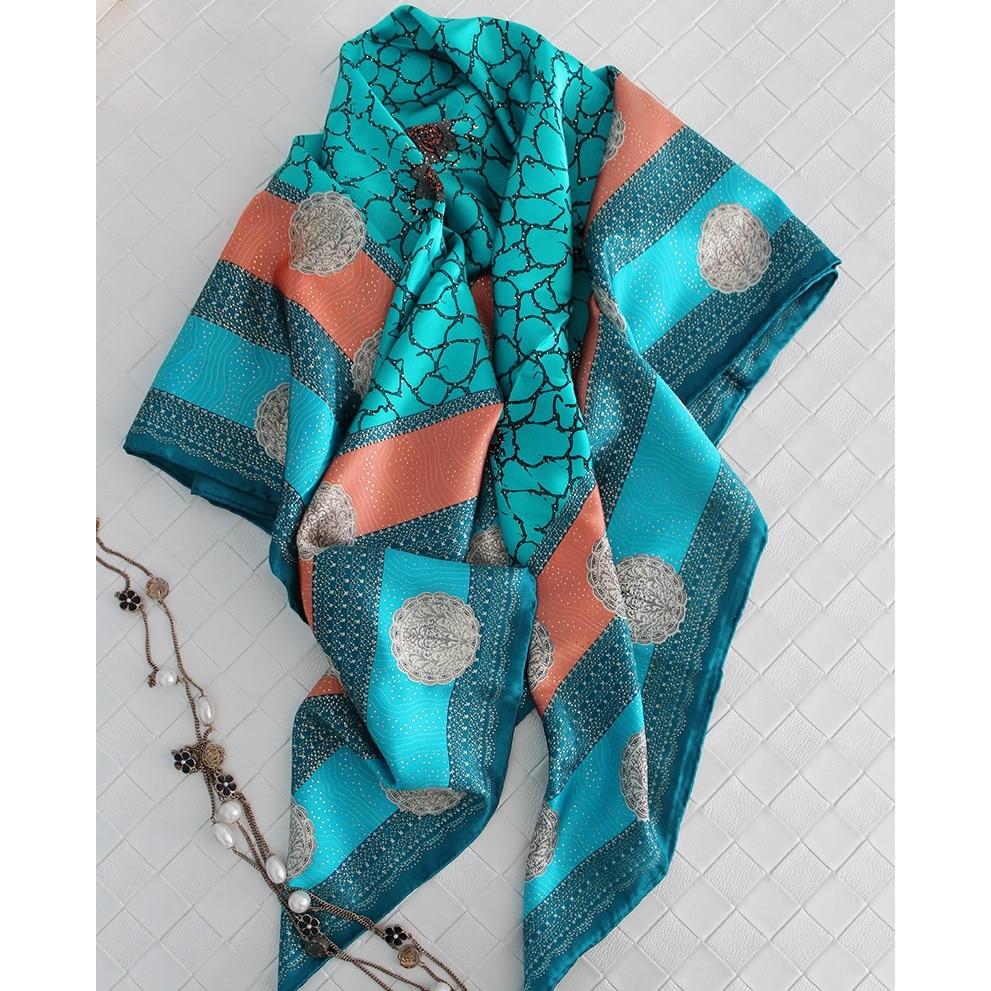106x106cm Women Large Square Silk Scarf Shawl Temperament Print 100% Soft Satin Silk Scarves Wraps Foulard Hand Rolled Edges