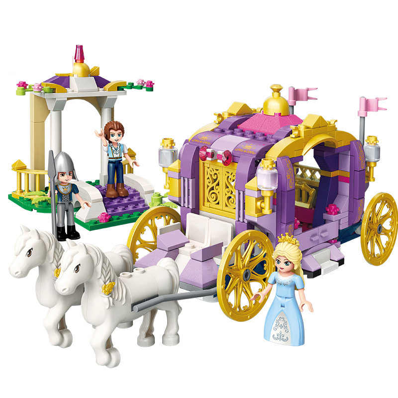 374pcs+ Cinderella Violet Royal Horse Carriage Princess Friend Building Blocks For Girl Sets Toy Compatible Legoingly Friends