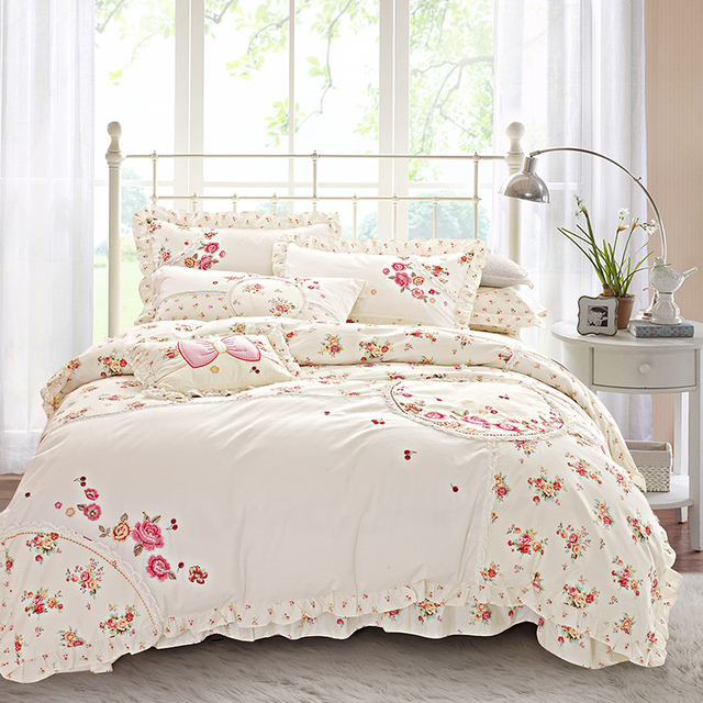 Floral Boho Bedding Sets Queen King Size Bed Set Princess Korea Bedclothes  Girls Cute Bed