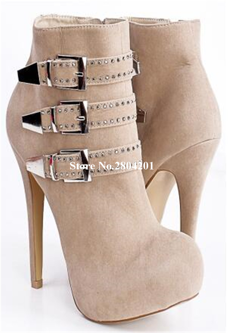 Women Short Boots Platform Round Toe Buckle Strap Metal Decoration Thin High Heels Zipper Detail Solid Ankle Booties Shoes Women plus button detail solid tee