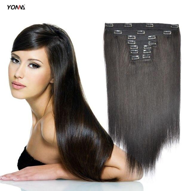 Yotchoi Productos Clip En Extensiones de Cabello Clip En Juegos 7 Unids Colur Natural Negro 1B # 6A Brasileño Humano Recto Extensiones de cabello