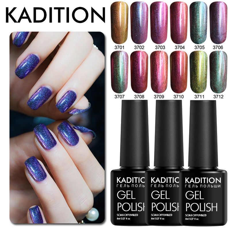 KADITION nowy 8 ml żelu Chameleon polski paznokci brokat UV LED proszek do pudru lakier do paznokci kolor UV żel serii Gellak holograficzny lakier do paznokci sztuki
