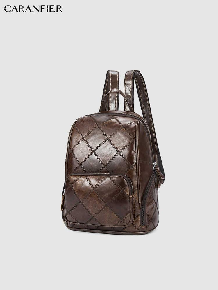 CARANFIER мужской рюкзак 100% топ из натуральной воловьей кожи дорожные сумки винтажный Повседневный компьютер ноутбук Многофункциональный рюкзак