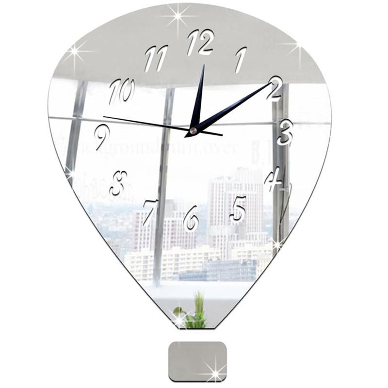 US $8.22 37% di SCONTO|Caldo! Palloncino Specchio D\'argento Orologio Da  Parete Design Moderno Home Decor Orologio Da Parete Sticker 2017 Nuovo ...