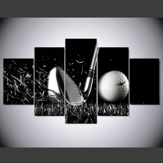 5 Panel HD Printed Painting Golf Canvas Home Decor Wall Art Picture For  Living Room Kn