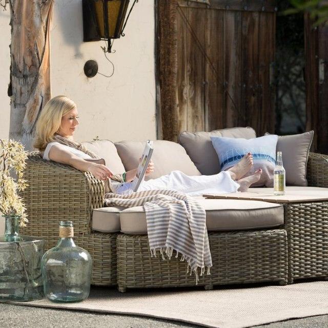 2017 All weather muebles de jardín sofá de mimbre de resina muebles ...