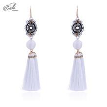 Badu White Tassel Earring Women Long Dangle Drop Seed Beads Golden Hook Earrings Statement Vintage Jewelry Party Wholesale