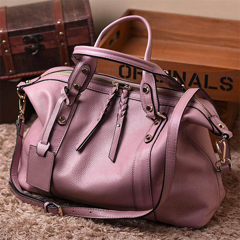 Women Natural cowhide genuine leather handbags vintage designer handbags high quality shoulder bags ladies hand bags women genuine leather handbags ladies personality new head layer cowhide shoulder messenger bags hand rub color female handbags